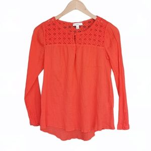 J. Crew Embroidery Coral Top Size 4 Long Sleeves